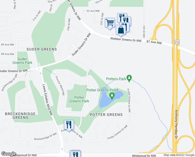 map of restaurants, bars, coffee shops, grocery stores, and more near 939 Picard Drive Northwest in Edmonton