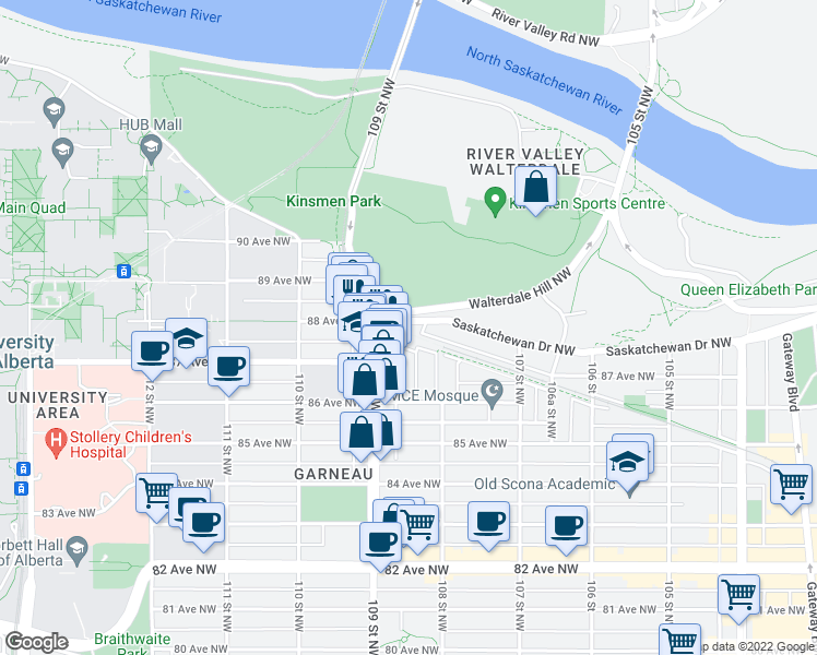 map of restaurants, bars, coffee shops, grocery stores, and more near 8612-8650 108A Street Northwest in Edmonton