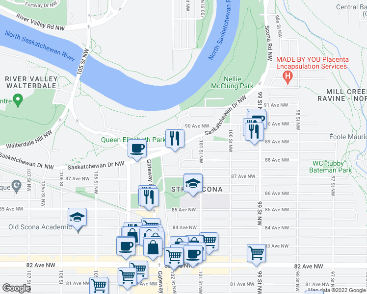 map of restaurants, bars, coffee shops, grocery stores, and more near 10144 Queen Elizabeth Park Road in Edmonton