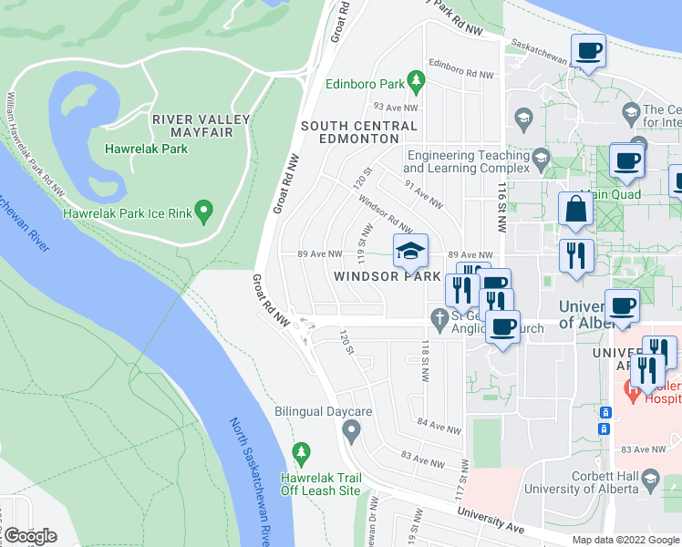 map of restaurants, bars, coffee shops, grocery stores, and more near 8734 119 Street Northwest in Edmonton