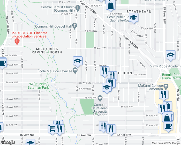 map of restaurants, bars, coffee shops, grocery stores, and more near 8824 B 90 Street Northwest in Edmonton