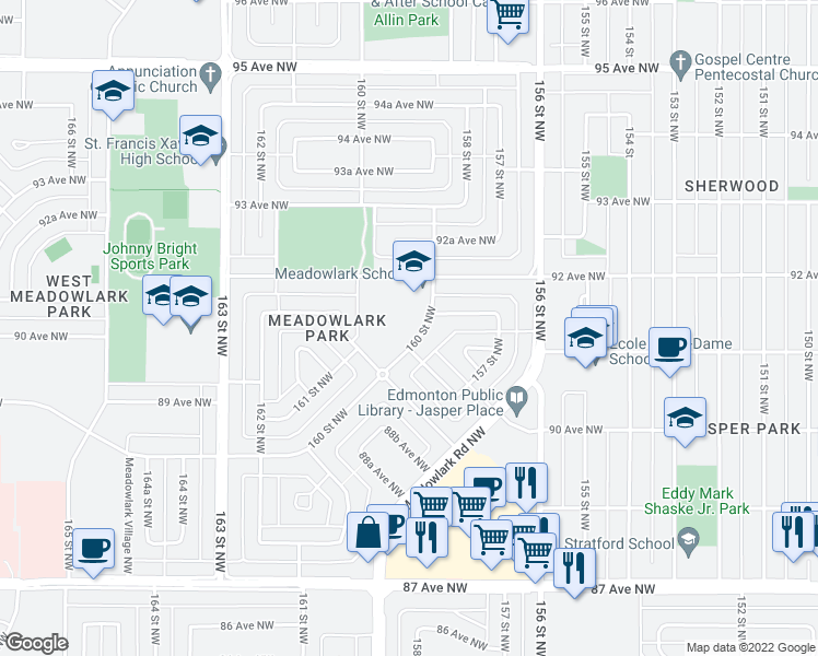 map of restaurants, bars, coffee shops, grocery stores, and more near 9104-9130 160 Street Northwest in Edmonton