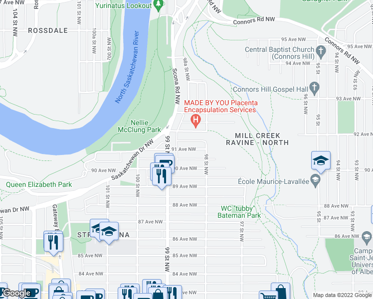 map of restaurants, bars, coffee shops, grocery stores, and more near 8530 101 Street Northwest in Edmonton