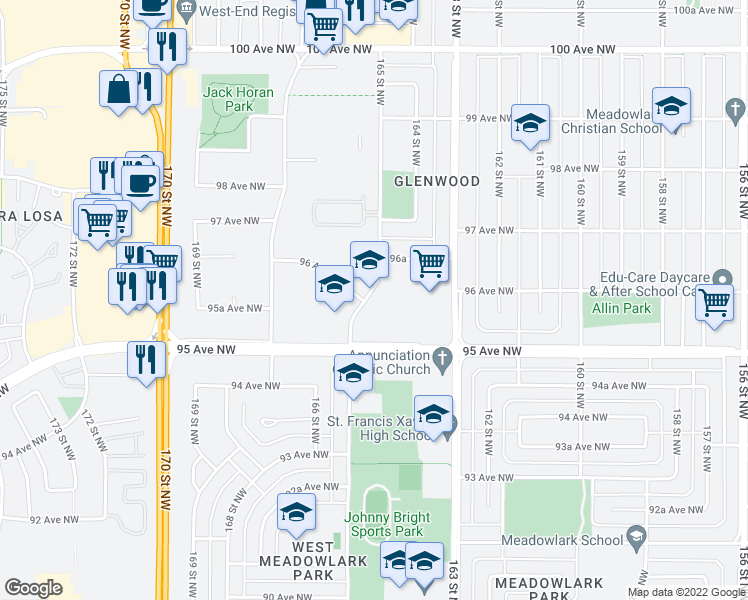 map of restaurants, bars, coffee shops, grocery stores, and more near 9535 165 Street Northwest in Edmonton