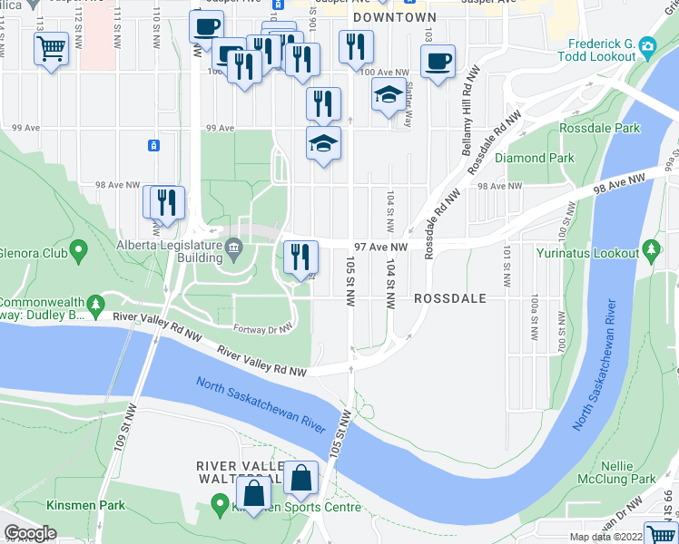 map of restaurants, bars, coffee shops, grocery stores, and more near 9624 105 Street Northwest in Edmonton