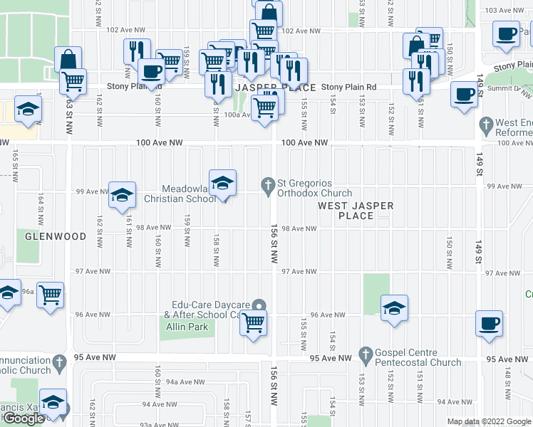 map of restaurants, bars, coffee shops, grocery stores, and more near 9816 156 Street Northwest in Edmonton