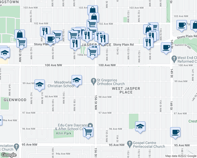 map of restaurants, bars, coffee shops, grocery stores, and more near 9903 156 Street Northwest in Edmonton