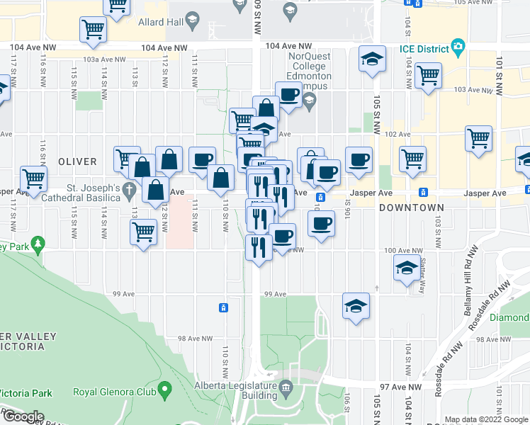 map of restaurants, bars, coffee shops, grocery stores, and more near 10047 109 Street Northwest in Edmonton