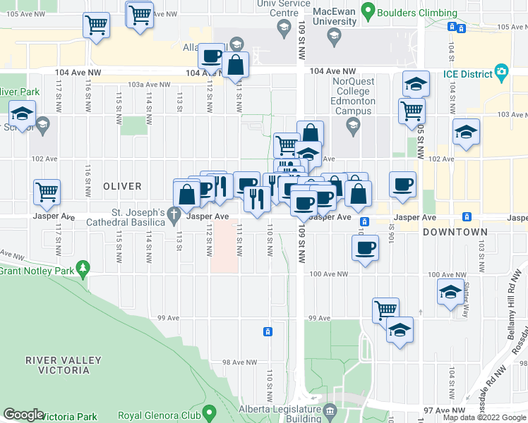 map of restaurants, bars, coffee shops, grocery stores, and more near 11010 Jasper Ave NW in Edmonton