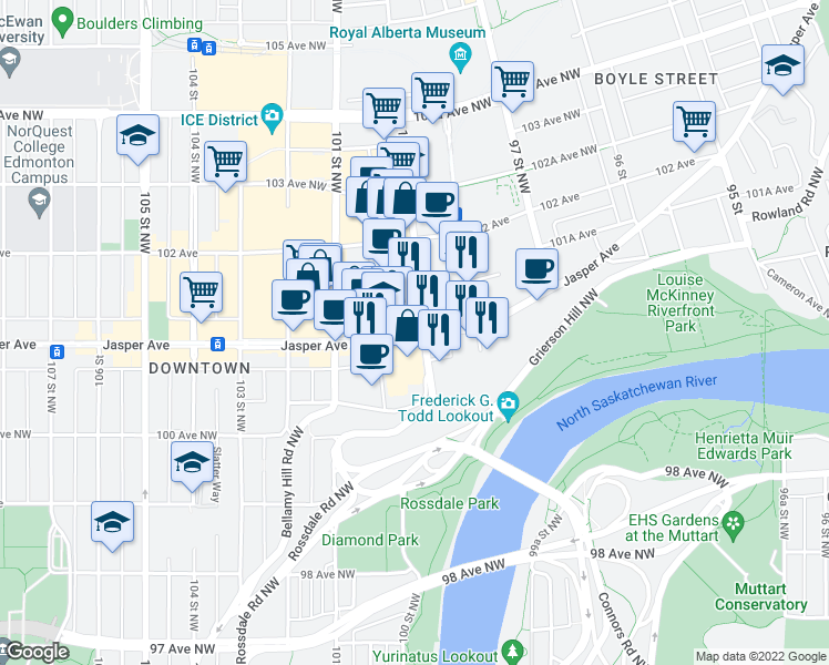 map of restaurants, bars, coffee shops, grocery stores, and more near 10024 Jasper Avenue in Edmonton