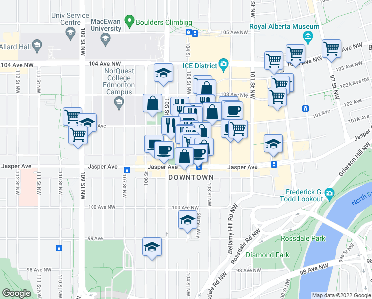 map of restaurants, bars, coffee shops, grocery stores, and more near 10136 104 Street Northwest in Edmonton