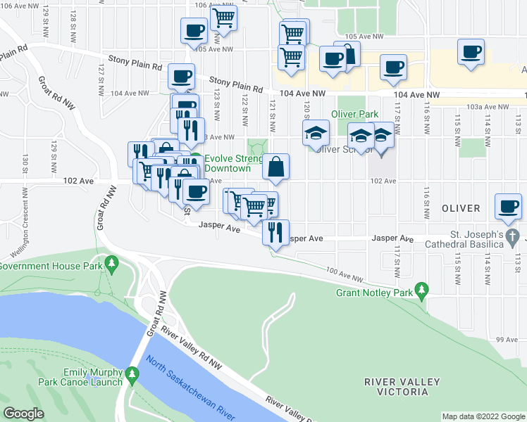 map of restaurants, bars, coffee shops, grocery stores, and more near 10130 121 Street Northwest in Edmonton