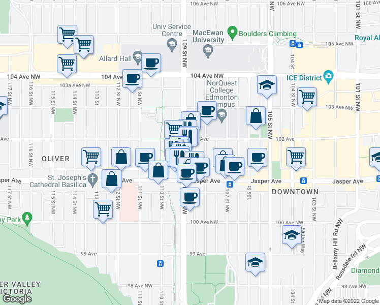 map of restaurants, bars, coffee shops, grocery stores, and more near 10145 109 Street Northwest in Edmonton