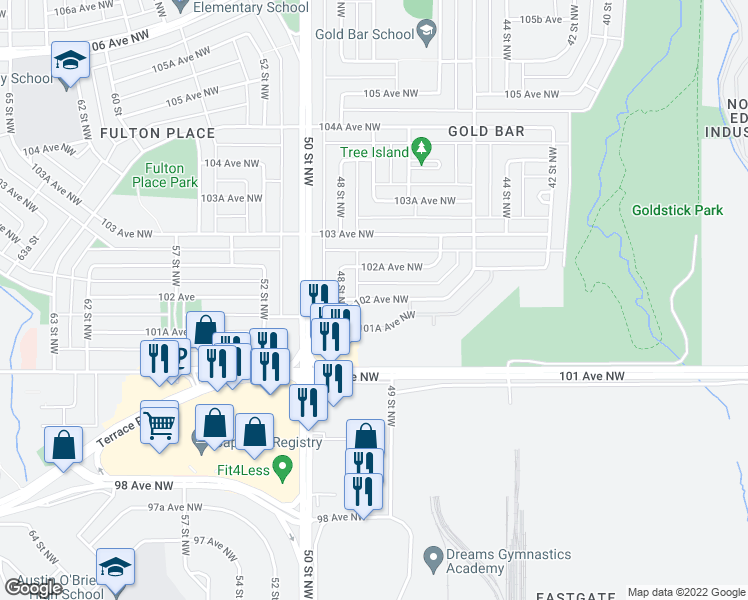 map of restaurants, bars, coffee shops, grocery stores, and more near 4725 102 Avenue Northwest in Edmonton