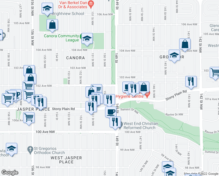 map of restaurants, bars, coffee shops, grocery stores, and more near 14925 102 Avenue Northwest in Edmonton