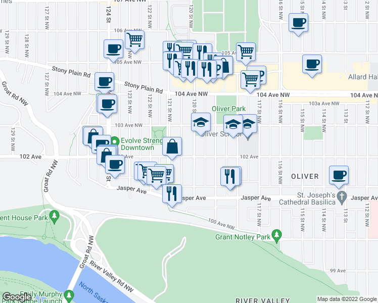 map of restaurants, bars, coffee shops, grocery stores, and more near 10242 120 Street in Edmonton