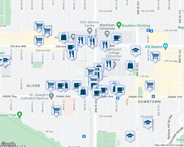 map of restaurants, bars, coffee shops, grocery stores, and more near 10904 102 Avenue Northwest in Edmonton