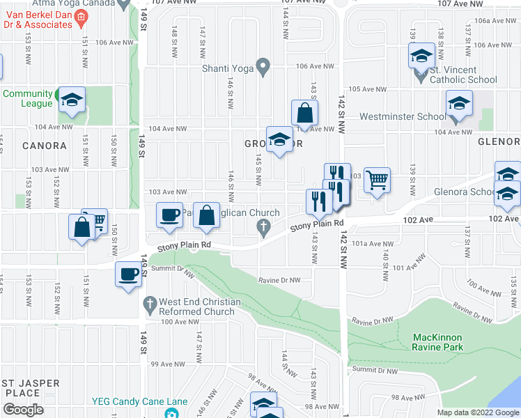 map of restaurants, bars, coffee shops, grocery stores, and more near 14507 103 Avenue Northwest in Edmonton