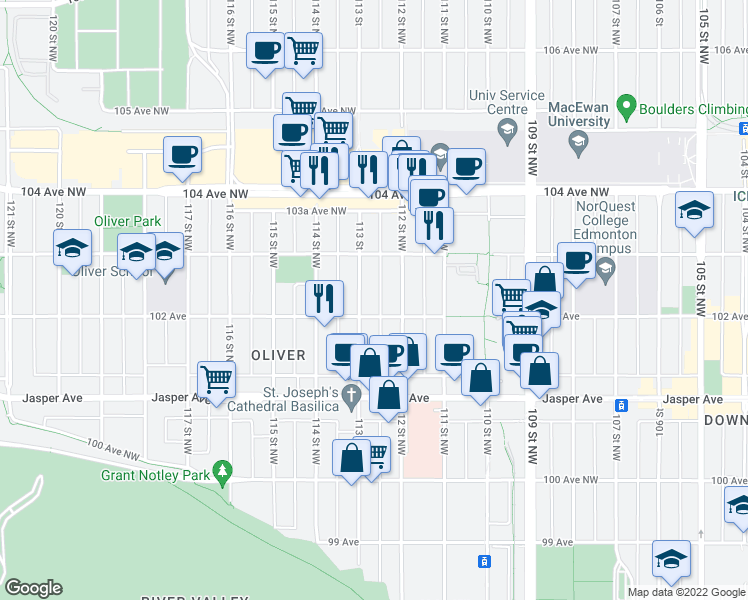 map of restaurants, bars, coffee shops, grocery stores, and more near 11212 102 Avenue in Edmonton