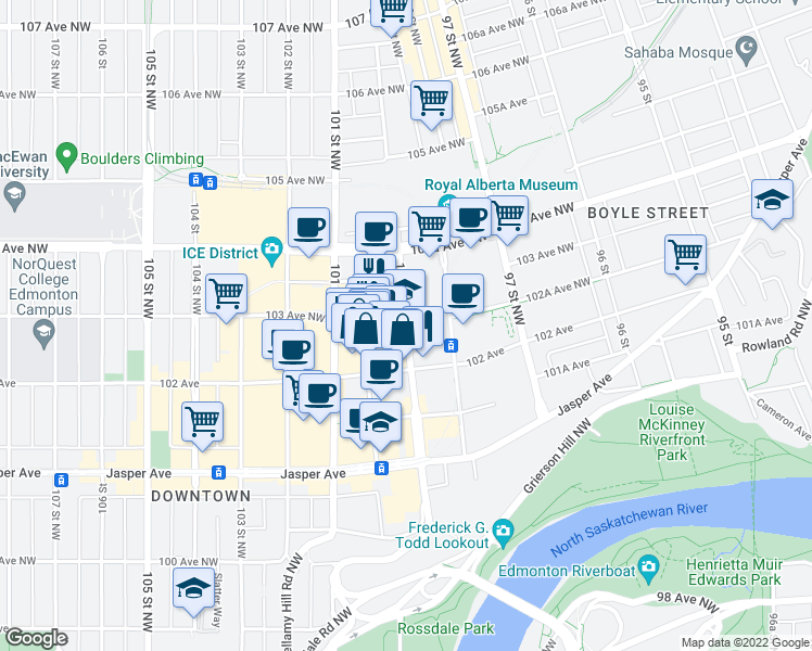 map of restaurants, bars, coffee shops, grocery stores, and more near 10206-10222 100 Street Northwest in Edmonton