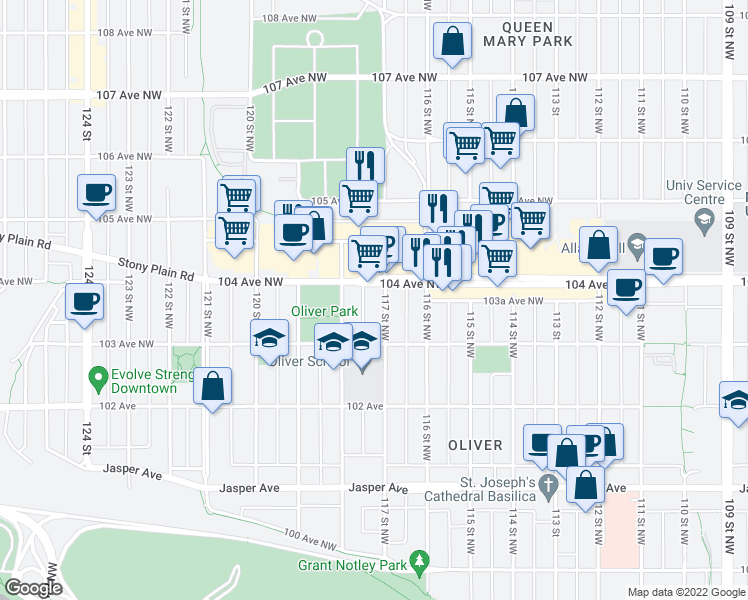 map of restaurants, bars, coffee shops, grocery stores, and more near 10340 117 Street Northwest in Edmonton
