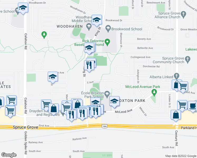 map of restaurants, bars, coffee shops, grocery stores, and more near 33 5 Avenue Southwest in Edmonton