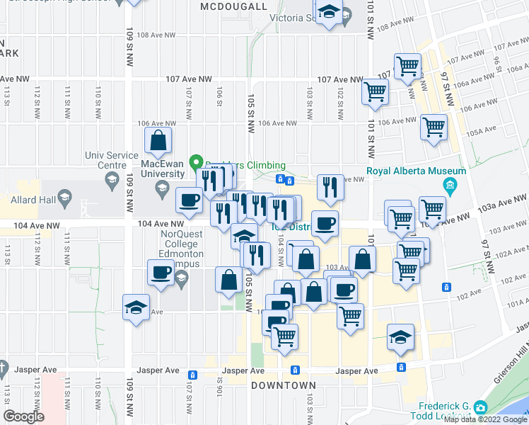 map of restaurants, bars, coffee shops, grocery stores, and more near 10404 104 Avenue Northwest in Edmonton