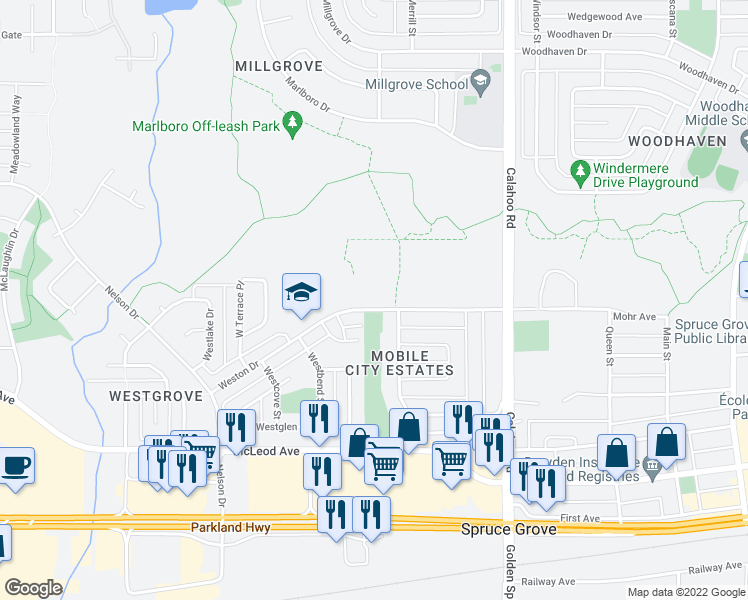 map of restaurants, bars, coffee shops, grocery stores, and more near 305 Calahoo Road in Spruce Grove