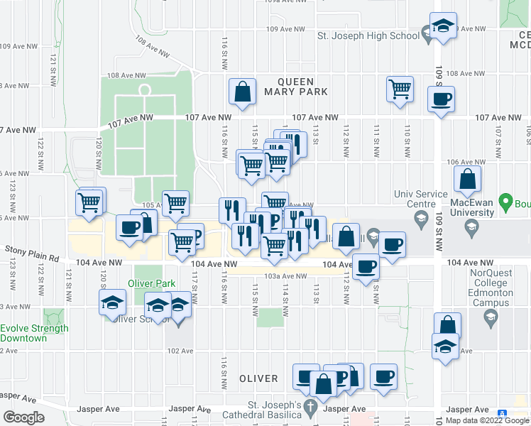 map of restaurants, bars, coffee shops, grocery stores, and more near 11425 105 Avenue in Edmonton