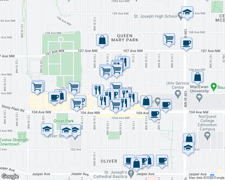 map of restaurants, bars, coffee shops, grocery stores, and more near 11425 105 Avenue Northwest in Edmonton