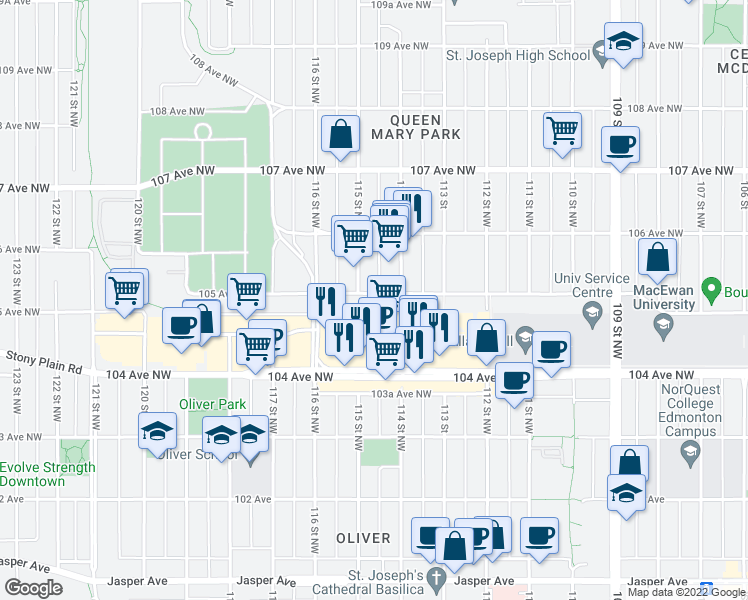 map of restaurants, bars, coffee shops, grocery stores, and more near 11403-11423 105 Avenue Northwest in Edmonton