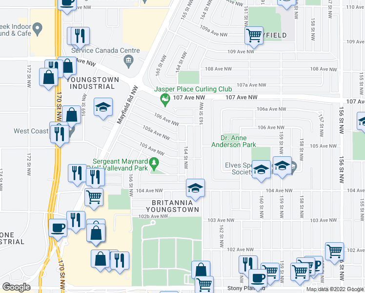 map of restaurants, bars, coffee shops, grocery stores, and more near 10517 164 Street Northwest in Edmonton