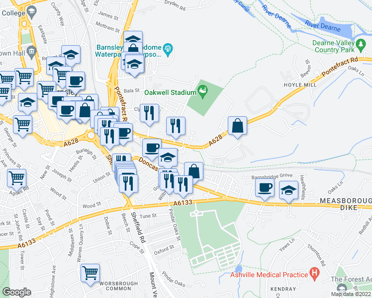 map of restaurants, bars, coffee shops, grocery stores, and more near Pontefract Road in South Yorkshire