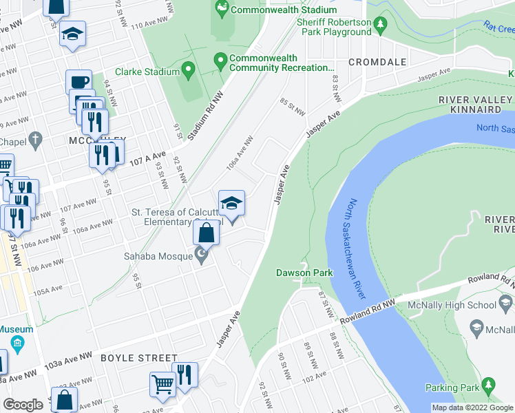 map of restaurants, bars, coffee shops, grocery stores, and more near 8930 Jasper Avenue in Edmonton