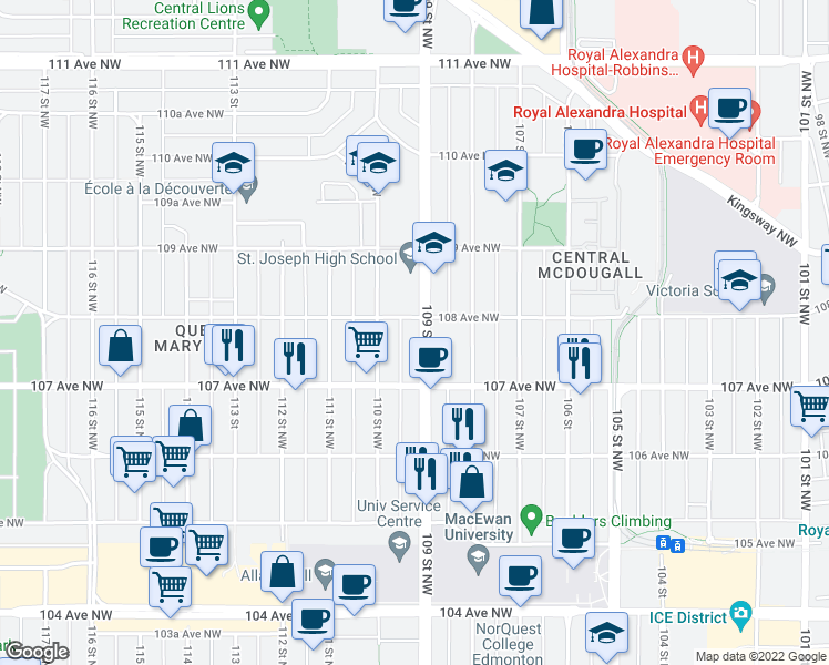 map of restaurants, bars, coffee shops, grocery stores, and more near 10740 109 Street Northwest in Edmonton