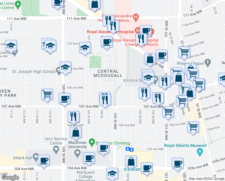 map of restaurants, bars, coffee shops, grocery stores, and more near 10740 105 Street Northwest in Edmonton