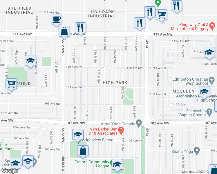 map of restaurants, bars, coffee shops, grocery stores, and more near 10907 152 Street Northwest in Edmonton
