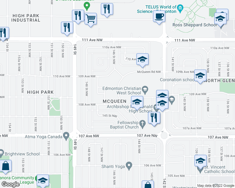 map of restaurants, bars, coffee shops, grocery stores, and more near 10811-10859 McQueen Road Northwest in Edmonton