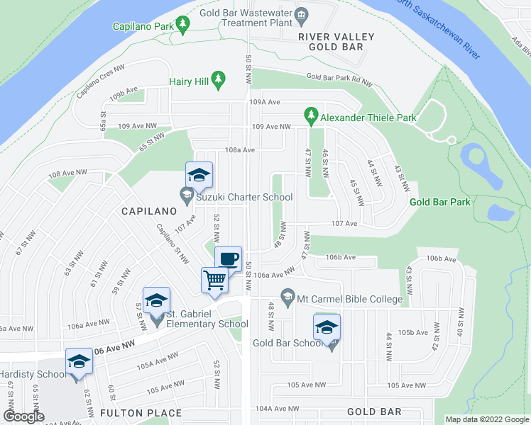 map of restaurants, bars, coffee shops, grocery stores, and more near 10723 50 Street Northwest in Edmonton