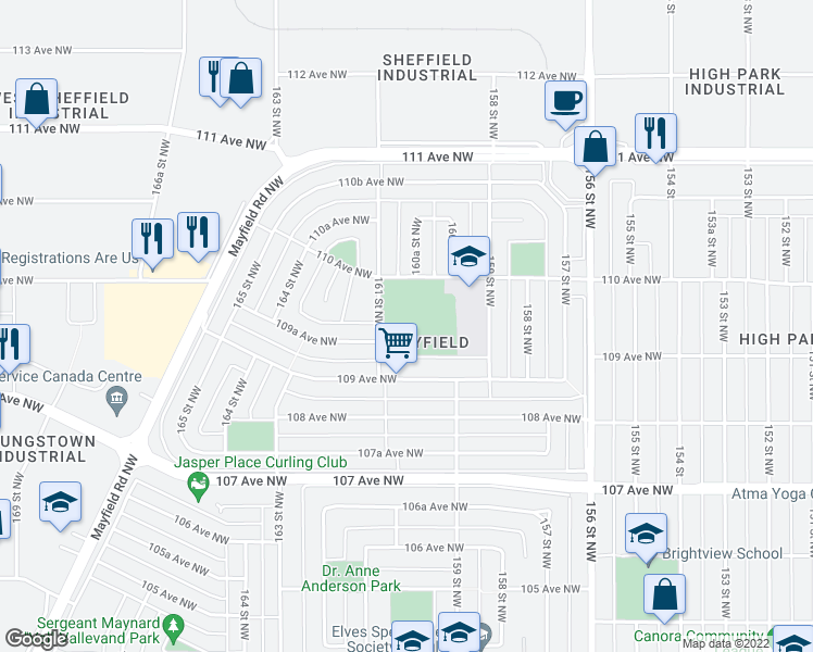 map of restaurants, bars, coffee shops, grocery stores, and more near 15964 109 Avenue Northwest in Edmonton