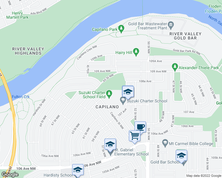 map of restaurants, bars, coffee shops, grocery stores, and more near 10810 54 Street Northwest in Edmonton