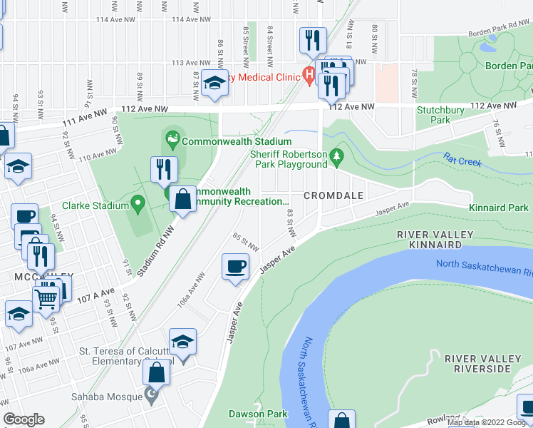 map of restaurants, bars, coffee shops, grocery stores, and more near 10965 84 Street Northwest in Edmonton