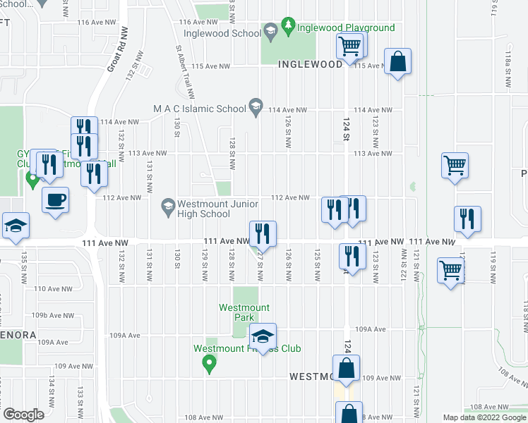 map of restaurants, bars, coffee shops, grocery stores, and more near 11135 127 Street Northwest in Edmonton