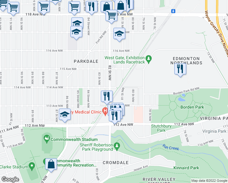 map of restaurants, bars, coffee shops, grocery stores, and more near 8117 114 Avenue Northwest in Edmonton