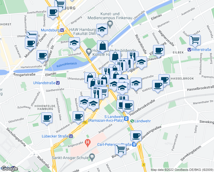 map of restaurants, bars, coffee shops, grocery stores, and more near 4 Wartenau in Hamburg