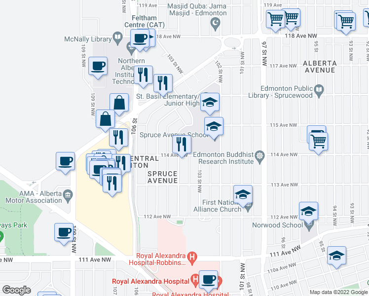 map of restaurants, bars, coffee shops, grocery stores, and more near 11323 105 Street Northwest in Edmonton