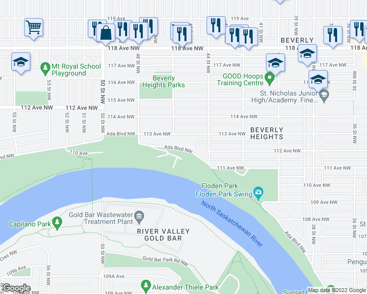 map of restaurants, bars, coffee shops, grocery stores, and more near 4434 Ada Boulevard Northwest in Edmonton