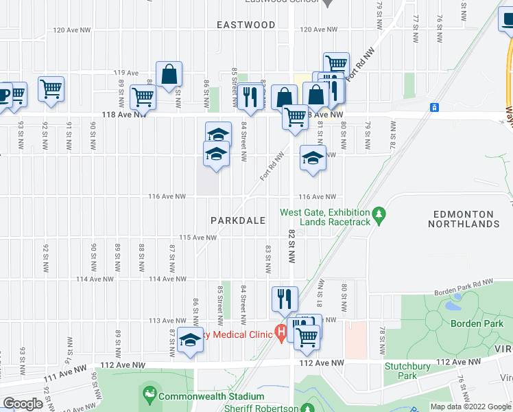 map of restaurants, bars, coffee shops, grocery stores, and more near 11524 84 Street Northwest in Edmonton