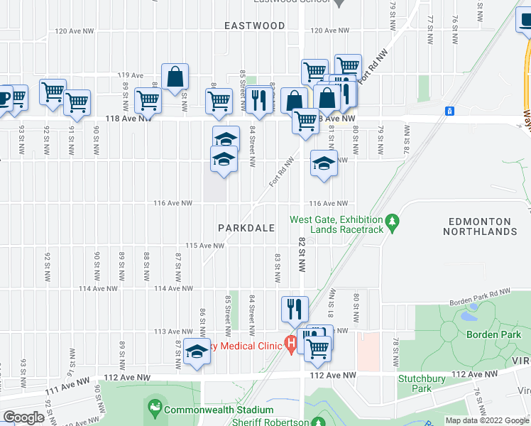 map of restaurants, bars, coffee shops, grocery stores, and more near 11526 83 Street Northwest in Edmonton