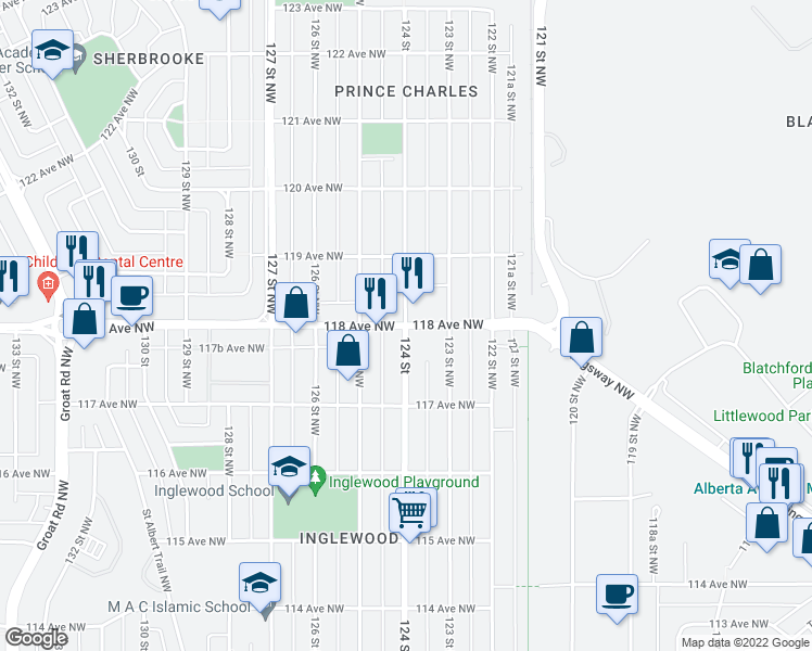 map of restaurants, bars, coffee shops, grocery stores, and more near 11735 124 Street in Edmonton